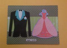 Tarjeta de felicitacion para matrimonio, en tecnica scrapbook con cricut.