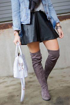 Denim Jacket, Leather Skirt, Over The Knee Boots, Bauble Bar Earrings -- spring & winter style via Glitter & Gingham (@sskaggs0)