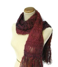 Hand Knit Scarf, Raspberry Scarf, Knit Scarf, Red Scarf, Knitted Scarf, Womens Scarf, Fiber Art, Winter Scarf, Fashion Scarf, Wool Scarf - pinned by pin4etsy.com