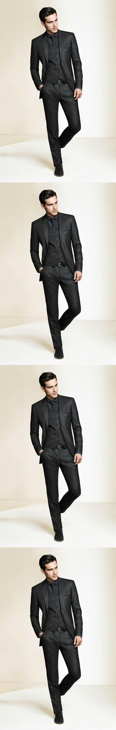 3 Pieces Hot Sale Custom New Arrival Groom Tuxedos Notch Lapel Men's Suit Black Groomsman Wedding/Prom Suits (Jacket+Pants+vest)