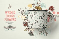 Washed Colors Flowers by Bloomart on @creativemarket
