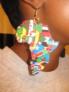 All Flags of Africa -- Africa Shaped Earrings. $16.00, via Etsy.