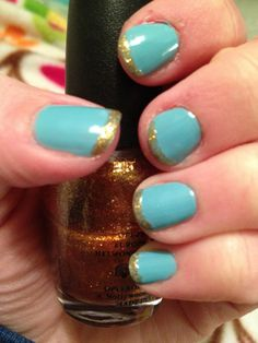 one of my favorite China Glaze colors, For Audrey, with a funky gold tip! (me)