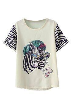 ROMWE | ROMWE Cartoon Zebra Print T-shirt, The Latest Street Fashion