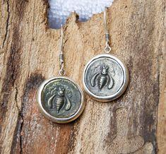 Ancient Coin 925 Sterling Silver Earrings  Ephesus Bee Animal