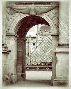 Louvre Paris France Photo -8 x 10 Parisian Home Decor-Musee du Louvre-Paris Architecture- Louvre Museum Pyramid-Fine Art Paris Photos $15.00