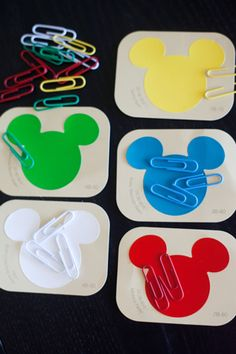 Paper clip and paint chip color matching. The fact that these paint chips are Mickey Mouse shaped sure makes it more fun!