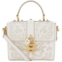 Dolce & Gabbana Lace Padlock Nappa Leather Top Handle Bag (€2.585) ❤ liked on Polyvore featuring bags, handbags, embroidered handbags, white handle bags, laser cut out handbag, white handbags and leather top handle bag
