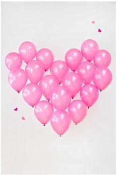 pink balloons heart shape