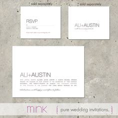 "modern wedding invitations - ""Pure""."
