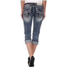 Rock Revival Luz P15 Capri in Medium Indigo Women's Capri, Navy ($75) ❤ liked on Polyvore featuring pants, capris, navy, skinny capri pants, skinny capris, navy skinny pants, navy blue capris and capri pants