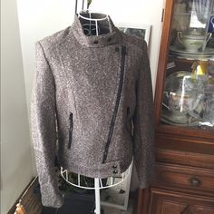 H & M tweed moto jacket This item is in good condition but it has been worn please ask any questions before purchasing. This item will only be traded for an autographed Authentic Chanel original, a Lamborghini, a penthouse in Paris, or the services of an Audi mechanic. All orders will be recorded before shipping. I do not model. Please see my reasonable offer chart before submitting offers. H&M Jackets & Coats