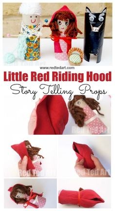 Story Telling with Red Ted Art: Toilet Paper Roll Little Red Riding Hood Craft. Little Red Riding Hood Story Prop DIY for teachers and parents. Make these Toilet Paper Roll Fairy Tale for Preschool Pig Crafts, Book Crafts, Preschool Crafts, Preschool Teachers, Yarn Crafts, Cardboard Tube Crafts, Toilet Paper Roll Crafts, Toddler Crafts, Crafts For Kids