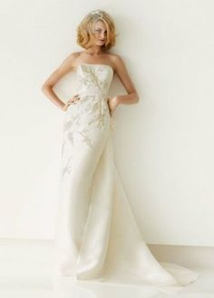 Metallic Beaded Mikado Column Gown