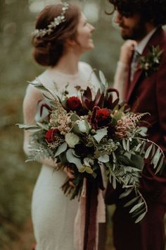 Bouquet Flowers Bride Bridal Burgundy Greenery Foliage Dahlia Astilbe Fern Ribbons Autumn Dark Red Wedding Belle Art Photography #Red #Cream #Rose #Greenery #Foliage #Bride #Bridal #Ribbons #burgundy #dahlia #autumn #astilbe #fern