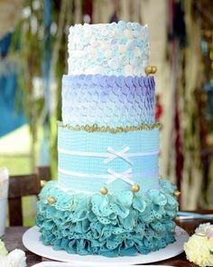 Ocean hues wedding cake.