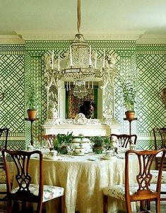 The amazing Mark Hampton and some fabulous out of print green treillage wallpaper