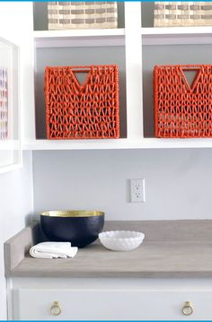 Dealing with a dark, cavelike laundry room is a chore in and of itself! Spray Paint Wicker, Painted Wicker, Tips And Tricks, Laundry Room Storage, Diy Storage, Laundry Rooms, Home Depot, Ikea Basket, Baskets