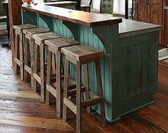 "YOUR Reclaimed Rustic and Recycled Oak Barn Wood Rectangle Top Bar Stool with a 18"" - 36"" Tall seats FREE SHIPPING - REBS118F"