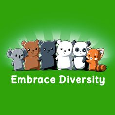 Embrace Diversity - This t-shirt is only available at TeeTurtle! Exclusive graphic designs on super soft 100% cotton tees.