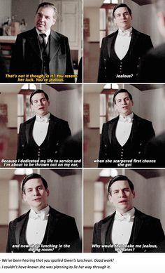 Thomas Barrow talking to the staff about Gwen | Downton Abbey Season 6 Episode 4