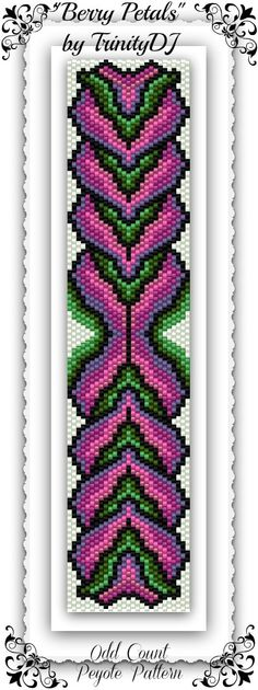 "New pattern listed in my Etsy Shop. ""Berry Petals"" is a Odd Count peyote stitch bracelet pattern, which is available as direct download and/or kit.  Here's your chance to test bead new designs and earn DISCOUNTS on your next 'In the Raw' Design! THIS IS WORKING LIKE A CHARM, please read here how it works: https://www.etsy.com/listing/160802151/bp-flo-104-berry-petals-odd-count-peyote?ref=shop_home_active"