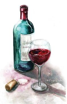 Bottle of red wine with glass. Wine cork laying next to the bottle.   Food  Illustration ce087e68713