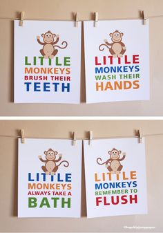 Bathroom Art Little Monkeys Choose Two 5x7 by HopSkipJumpPaper, $26.00