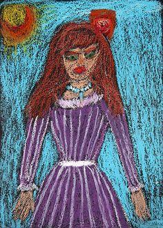 Jeune Damoiselle en robe violette sortant pour aller au Bal