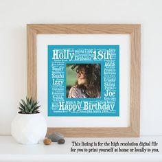 Personalised 18TH BIRTHDAY GIFT Digital Print by WordlyDesigns