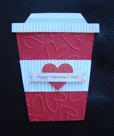 Stampin Up Handmade Valentine Coffee Card - Embossing - Add Starbucks Giftcard