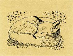 животное, искусство, произведение искусства, нарисованное, рисунок, лиса, иллюстрация