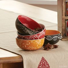 Starburst & Vine Bowl Set - serrv.org Beautifully etched ceramic bowls are the perfect size for small servings. Dishwasher and microwave safe. Set of 4. 1 3/4in. h x 3 3/4in. dia $42.