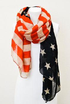 Vintage American Flag Scarf  July 4th Scarves  Patriotic scarf on Etsy, $24.99