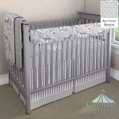 Crib bedding in Solid Silver Gray, Gray Woodland Animals, Gray and White Ferns, Silver Dimpled Minky, Cloud Gray Arrow Stripe. Created using the Nursery Designer® by Carousel Designs where you mix and match from hundreds of fabrics to create your own unique baby bedding. #carouseldesigns