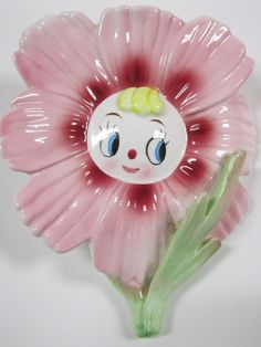 ANTHROPOMORPHIC PINK FLOWER WALL POCKET - I have her, and 2 of her siblings :)