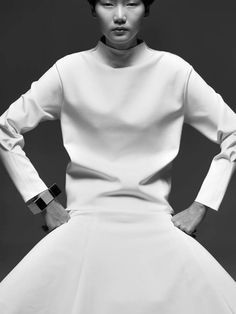 Bold Minimalism - structured top & skirt; white simplicity // Persephoni SS14 Campaign