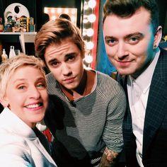 """Sam Smith, Justin Bieber and Ellen backstage at The Ellen Show!"""