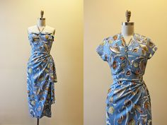 1940s Hawaiian Dress Vintage 40s Silk Sarong Halter by jumblelaya