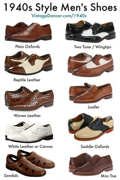 New 1940s men's shoes. Oxfords, wingtips, saddle shoes, black and white shoes, brown and shite shoes, sandals, boots, slippers and loafers. Shop now at VintageDancer.com/1940s