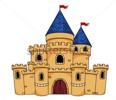 Buy Medieval Castle or Fortress by VectorTradition on GraphicRiver. Cartoon illustration of an old medieval castle or fortress with a central arched door, towers, turrets and flying fla. Drawing For Kids, Art For Kids, Castle Clipart, Castle Cartoon, Castle Mural, Castle Drawing, Castle Pictures, Bible School Crafts, School Murals