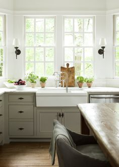 Light-filled, gray & white kitchen, black accents - Barbara Westbrook