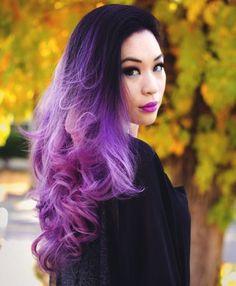 Bilderesultat for purple  lavender hair with bangs