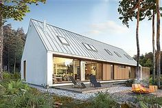 Brave 2 - visualization 1 - a small modern barn with a shed Farmhouse Architecture, Modern Farmhouse Exterior, Architecture Design, Modern Barn House, Modern House Design, Long House, Small Modern Home, Shed Homes, New House Plans
