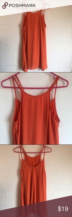 Anthro/nords brand LUSH orange strappy shift dress Gorgeous color! Worn once on vacation. Perfect condition. Shift style with strappy top. Anthropologie Dresses