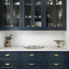 Royal Blue Pantry Cabinets with Brass Vintage Latch Hardware