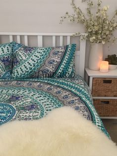 Queensize Mandala Duvet/Doona Cover with Matching by Ambaloo Mandala Print, Duvet, Bedding, Double Beds, Queen Size, Comforters, Im Not Perfect, Pillow Cases, Buy And Sell