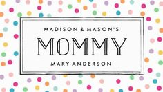 Cute and Colorful Rainbow Confetti Dots Mommy Calling Card Business Cards http://www.zazzle.com/colorful_confetti_mommy_business_cards-240387124415400326?rf=238835258815790439&tc=GBCMommy1Pin