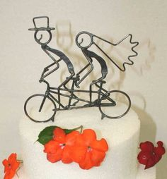 Small Tandem Bicycle Wedding Cake Topper 5 by DarylsRockWireWorks