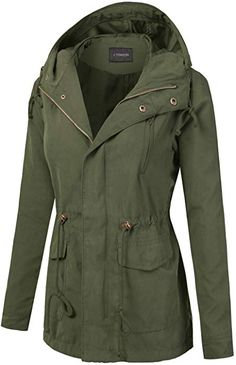00d73431757 Amazon.com  J.TOMSON Women s Woven Peach Skin Hooded Utility Jacket Olive  3XL  Clothing